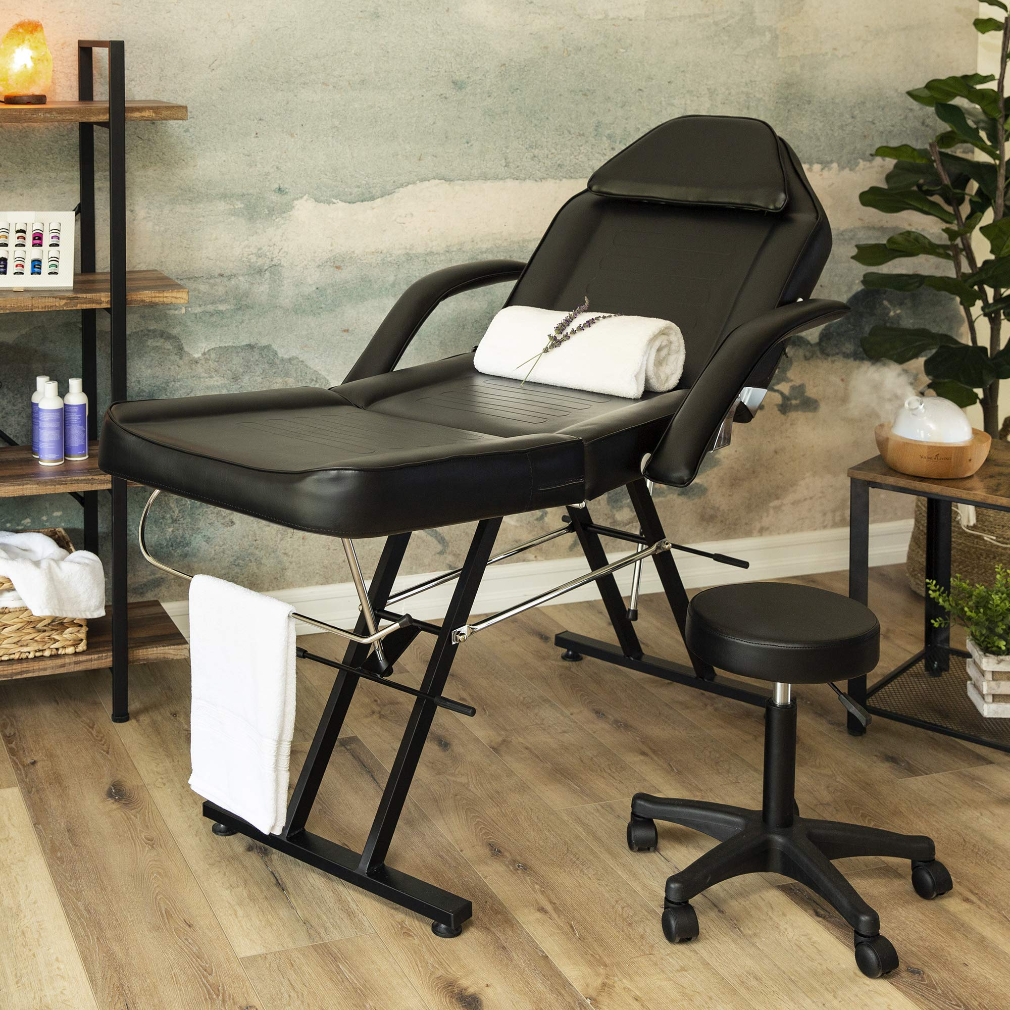 Best Choice Products 71in 3-Section Commercial Massage Bed, Spa and Salon Facial Chair, Tattoo Chair w/Hydraulic Stool, Removable Headrest, Facial Cradle, Towel Hanger by Best Choice Products