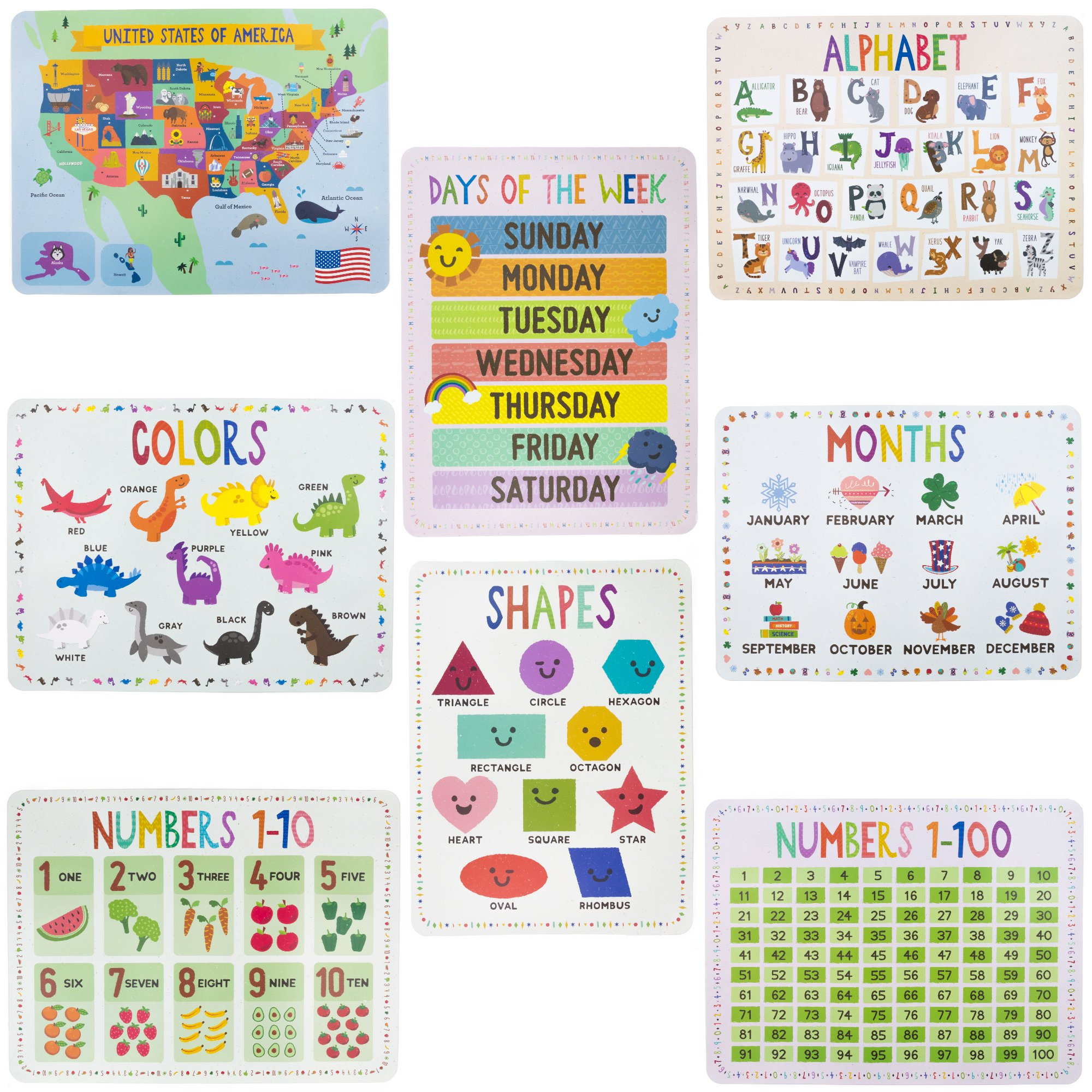 8-Pack Reversible Classroom Wall Posters 22'' x 17'' - Learn the Alphabet, Colors, Days, Months, Numbers, Shapes, & USA Map by Pint-Size Scholars