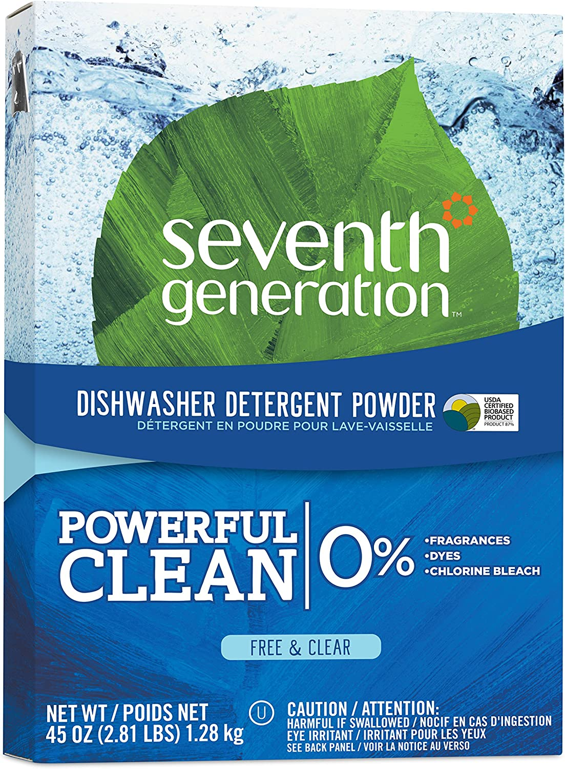 Seventh Generation Dishwasher Detergent Powder, Free & Clear, 45 oz