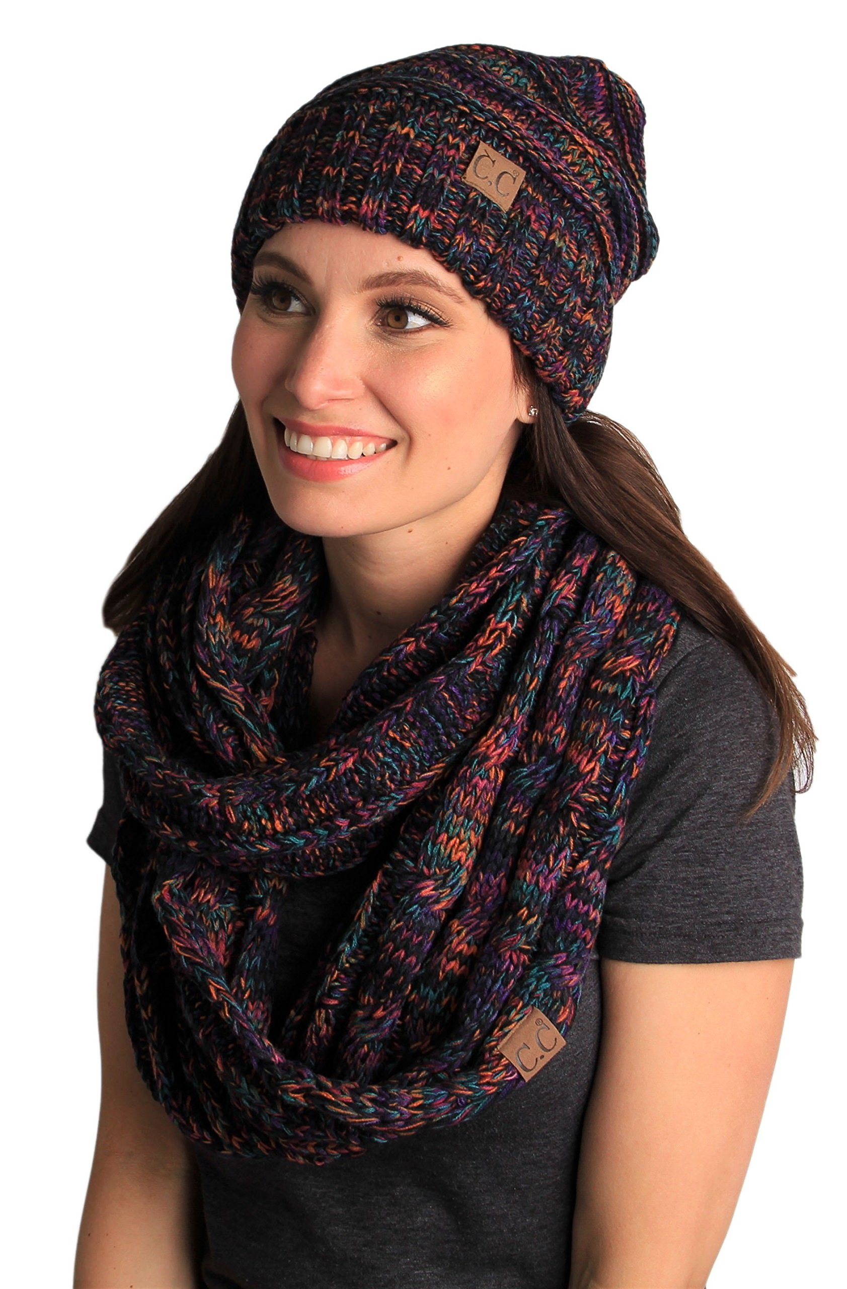 bHS-6100-0641 Oversized Beanie Matching Scarf Set Bundle - Kaleidoscope 4#32 by Funky Junque
