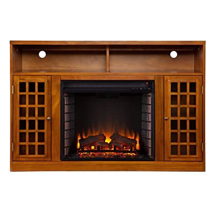 50 electric fireplace tv stand with a glazed pine finish adjustable shelving flatscreen television - Tv Stands With Fireplaces