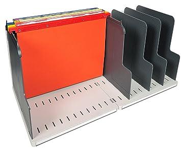 Exacompta Modulotop - Clasificador vertical con 5 separadores y 5 carpetas colgantes, color gris luz y gris oscuro: Amazon.es: Oficina y papelería