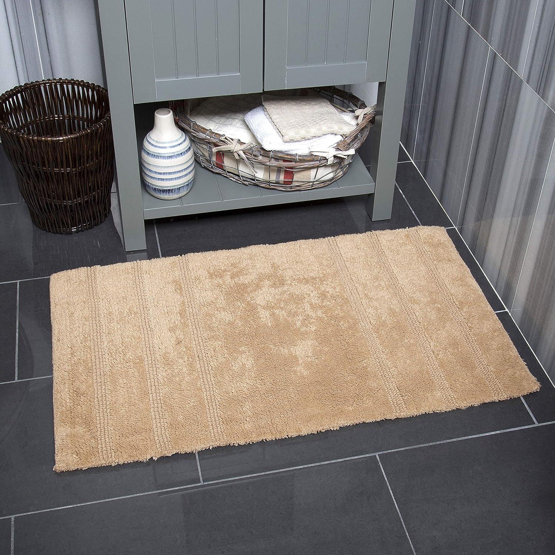 """Home Dynamix Nicole Miller Newton Reversible Cut & Loop Stripe 2-Piece Cotton Bath Mat Set, 17""""x24""""/21""""x34"""" Beige"""