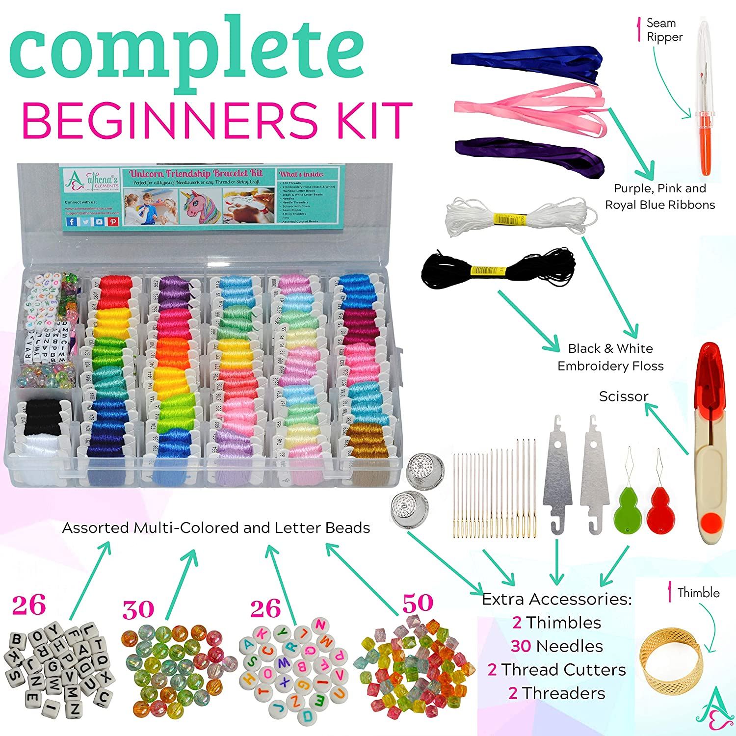 for Cross Stitch Colors are Coded as Embroidery Floss Numbers Perfect Gift for Girls String Thread Craft Supplies Unicorn DIY Friendship Bracelet String Kit Embroidery Thread and Accessories