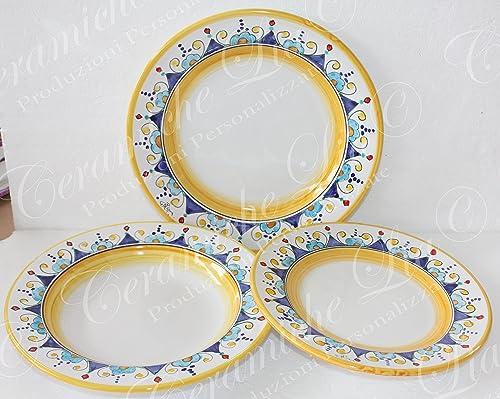 Piatti In Ceramica Prezzi.Servizio Di Piatti Per 6 Persone Ceramica Di Vietri Dec Iris G Amazon It Handmade