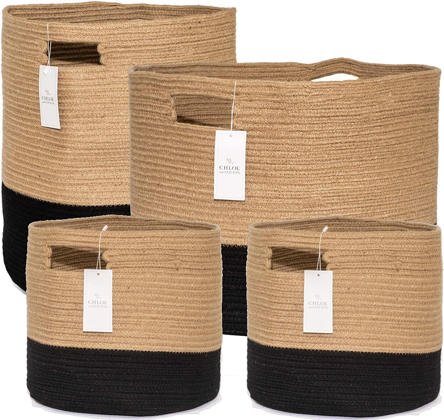 Chloe and Cotton Woven Coiled Rope Storage Baskets XXXL 15 x 21 inch; XL 19 x 16 and Set of 2 Cubby Baskets Jute Black Handles | Decorative Laundry Clothes Hamper, Blanket, Towel, Cute Organizer Bin