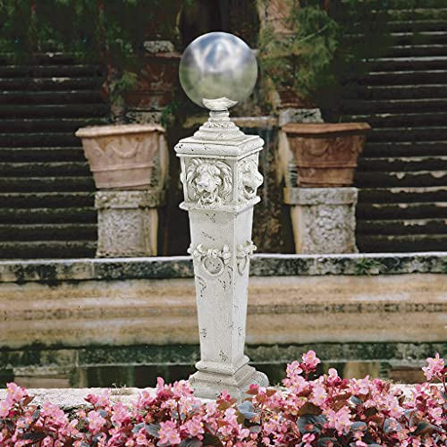 Design Toscano EU1361 Lion Head Gazing Globe Pillar Garden Statue,antique stone