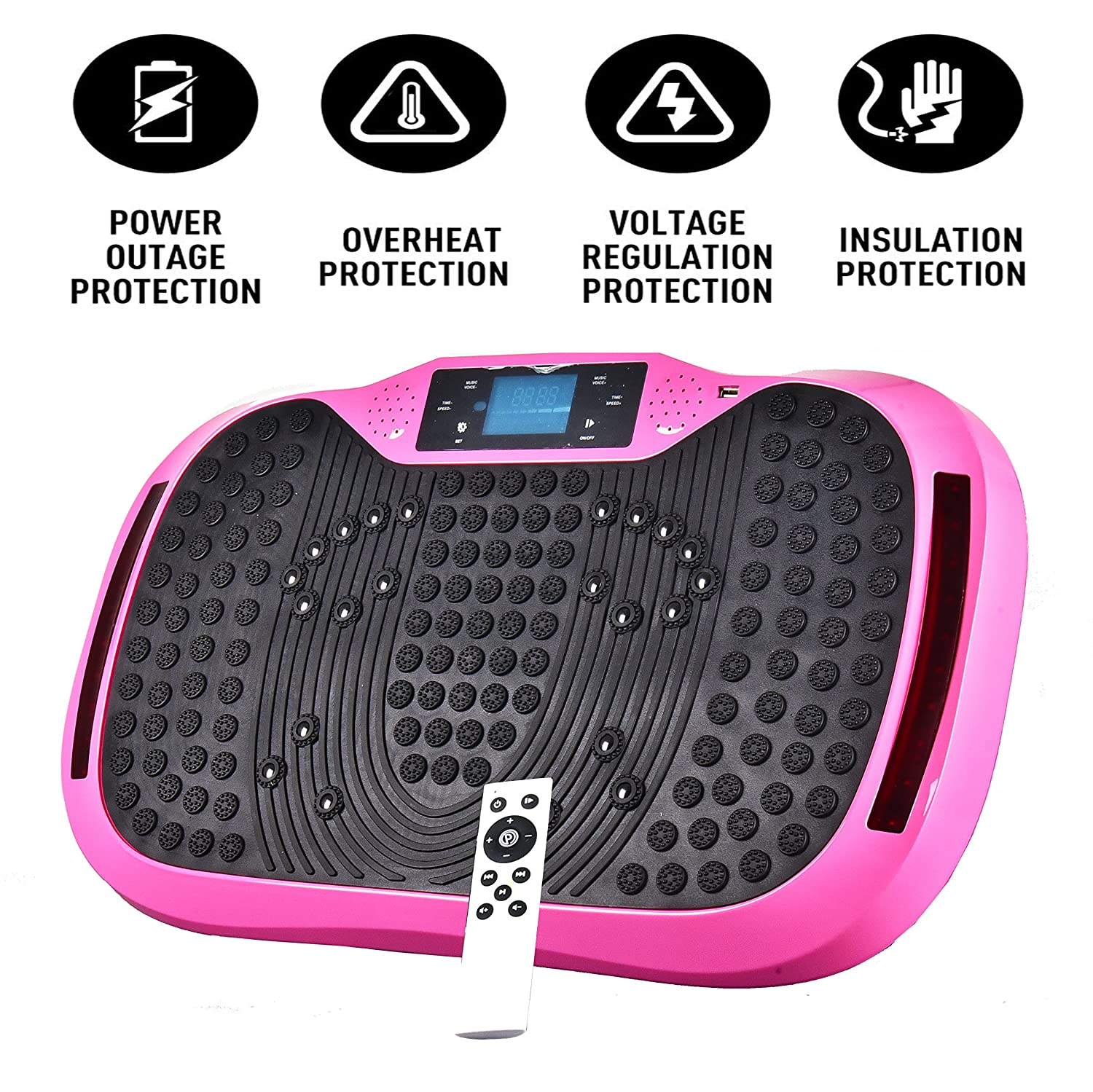 Reliancer Built-in Music Player Fitness Vibration Platform Whole Full Body Shaped Crazy Fit Plate Massage Workout Trainer Exercise Machine Plate w//Integrated USB Port/&LED Light