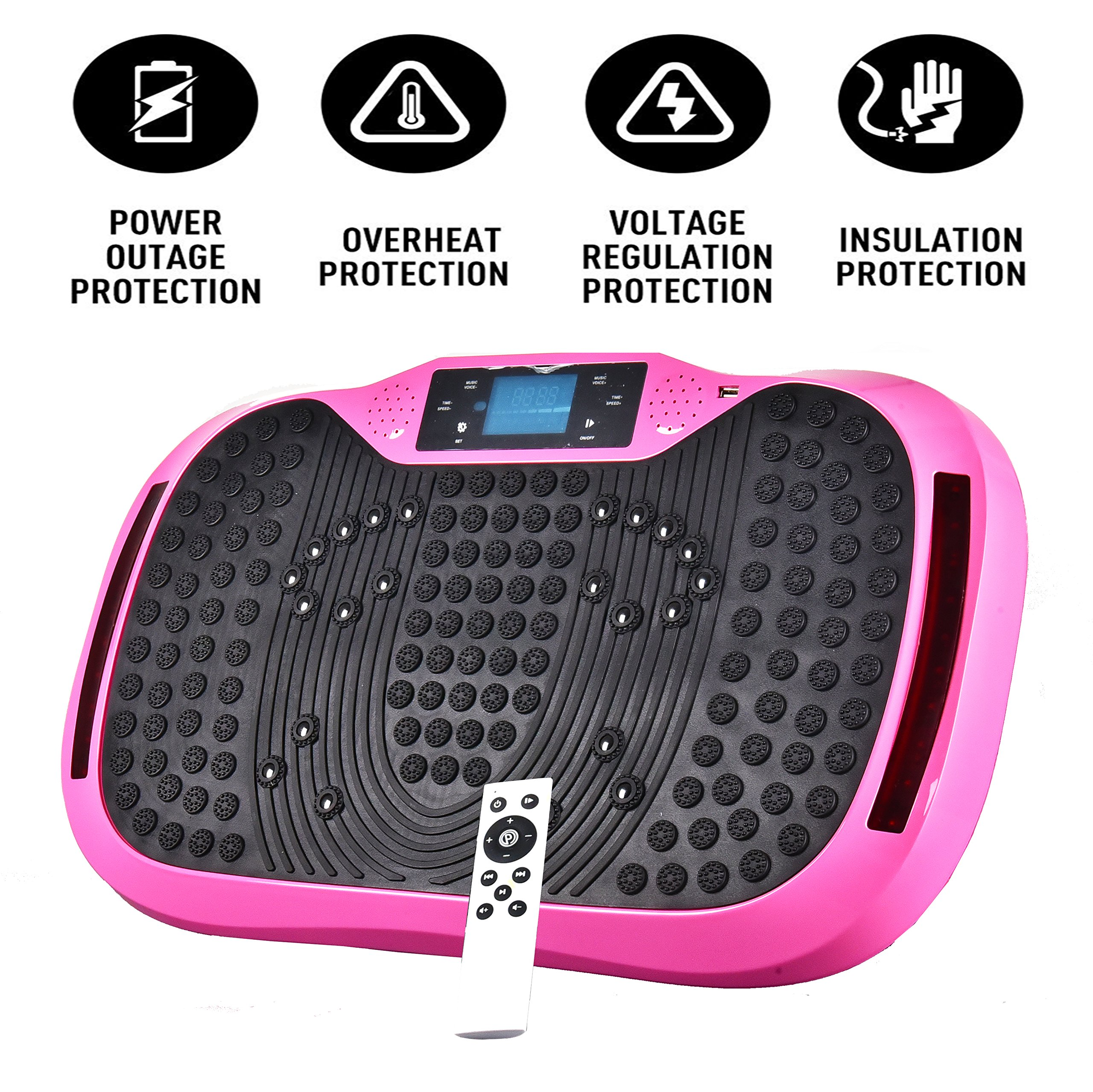 Reliancer Built-in Music Player Fitness Vibration Platform Whole Full Body Shaped Crazy Fit Plate Massage Workout Trainer Exercise Machine Plate w/Integrated USB Port&LED Light (W/Music-Pink) by Reliancer (Image #9)