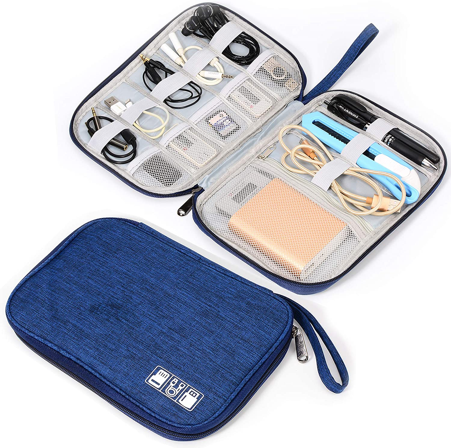 Electronic Organizer Travel Universal Waterproof Carrying Case Cable Organizer Electronics Accessories Cases for Cable Black Phone USB SD Card Charger