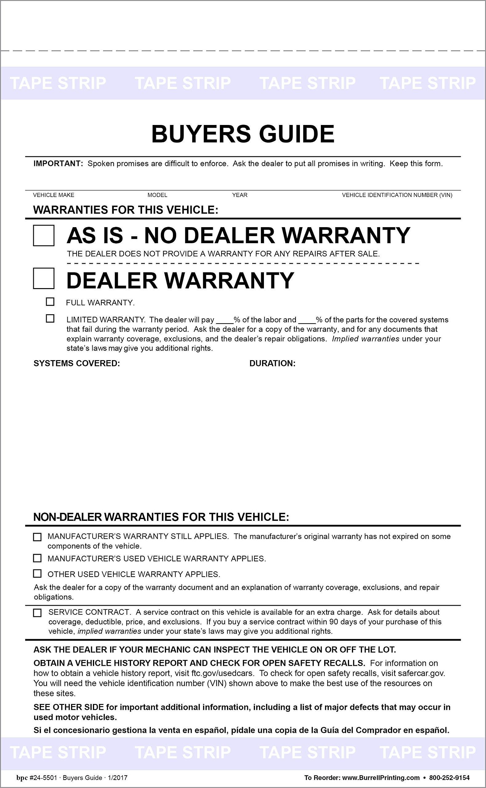 Buyers Guide Form - Adhesive Tape - English - As is - Warranty Pack of 500 Forms