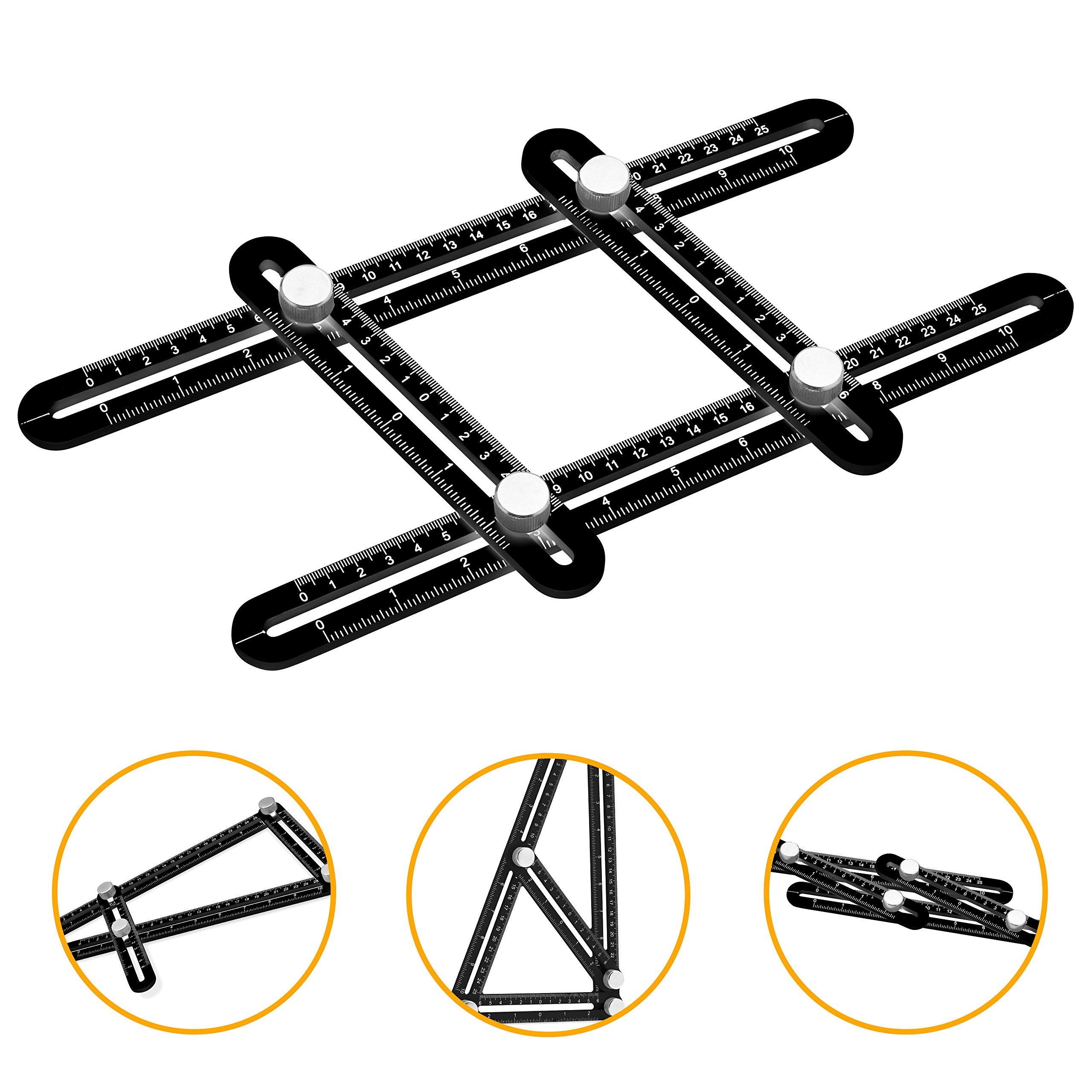 Universal Angularizer Ruler and Multi-Angle Measuring Tool in Black - Template Tool Makes Great Gifts for Men Him Husband Dad Father DIY