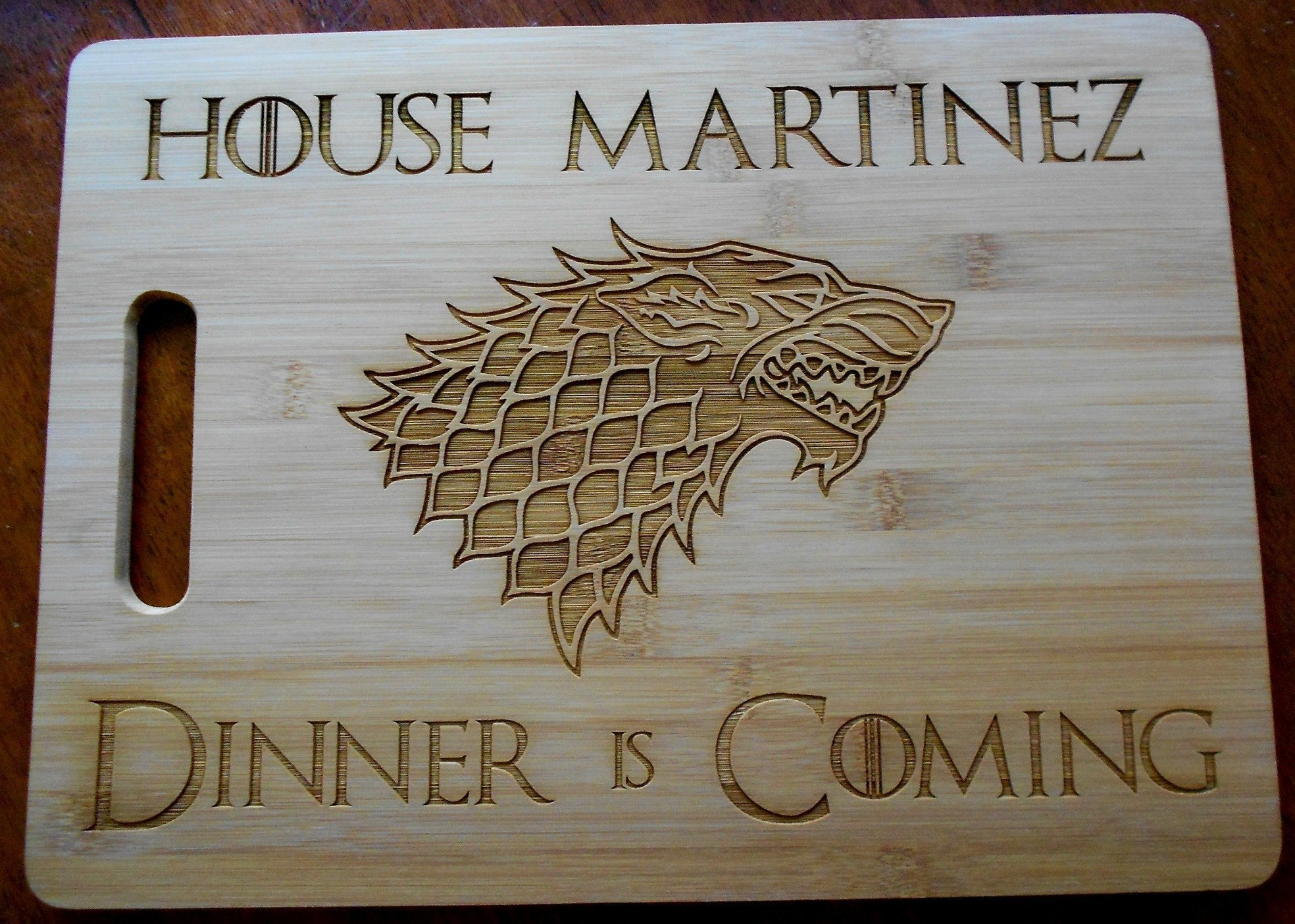 Game of Thrones Personalized Bamboo Cutting Board 11 by 15'' Large Board Laser Engraved with Name Dinner is Coming GOT