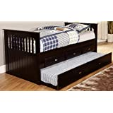 Discovery World Furniture Rake Bed With 6 Drawers Twin Espresso