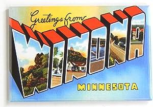 Greetings from Winona Minnesota Fridge Magnet (2 x 3 inches)