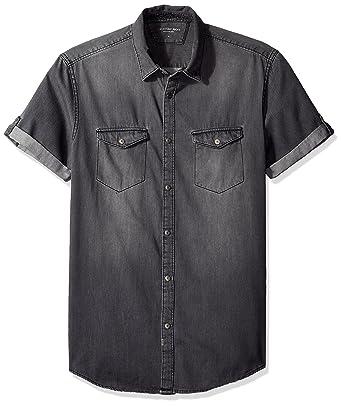 Calvin Klein Jeans Men's Short Sleeve Denim Button Down Shirt at ...
