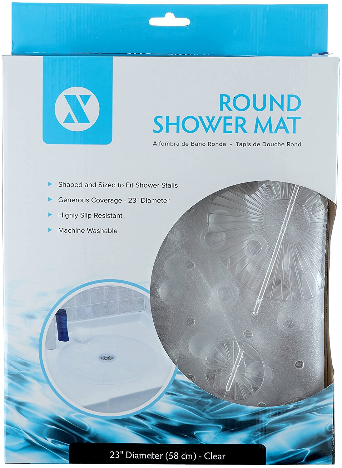 SlipX Solutions White Round Shower Stall Mat Provides Generous Coverage /& Reliable Slip-Resistance 58cm Sides, 160+ Suction Cups, Great Drainage