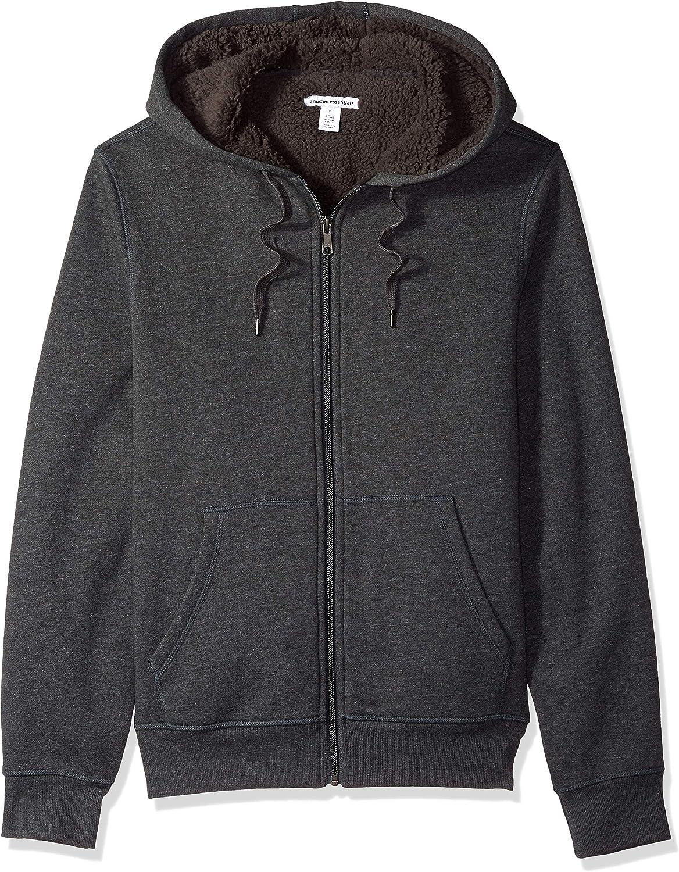 Essentials Men's Sherpa Lined Full-Zip Hooded Fleece Sweatshirt: Clothing