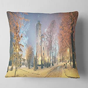 Designart Mariinsky Garden in Yellow Tone' Landscape Photography Throw Living Room, Sofa, Pillow Insert + Cushion Cover Printed On Both Side 16 in. x 16 in