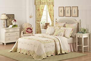 Mary Janes Farm Prairie Bloom Bedspread, Queen, Yellow/Pink