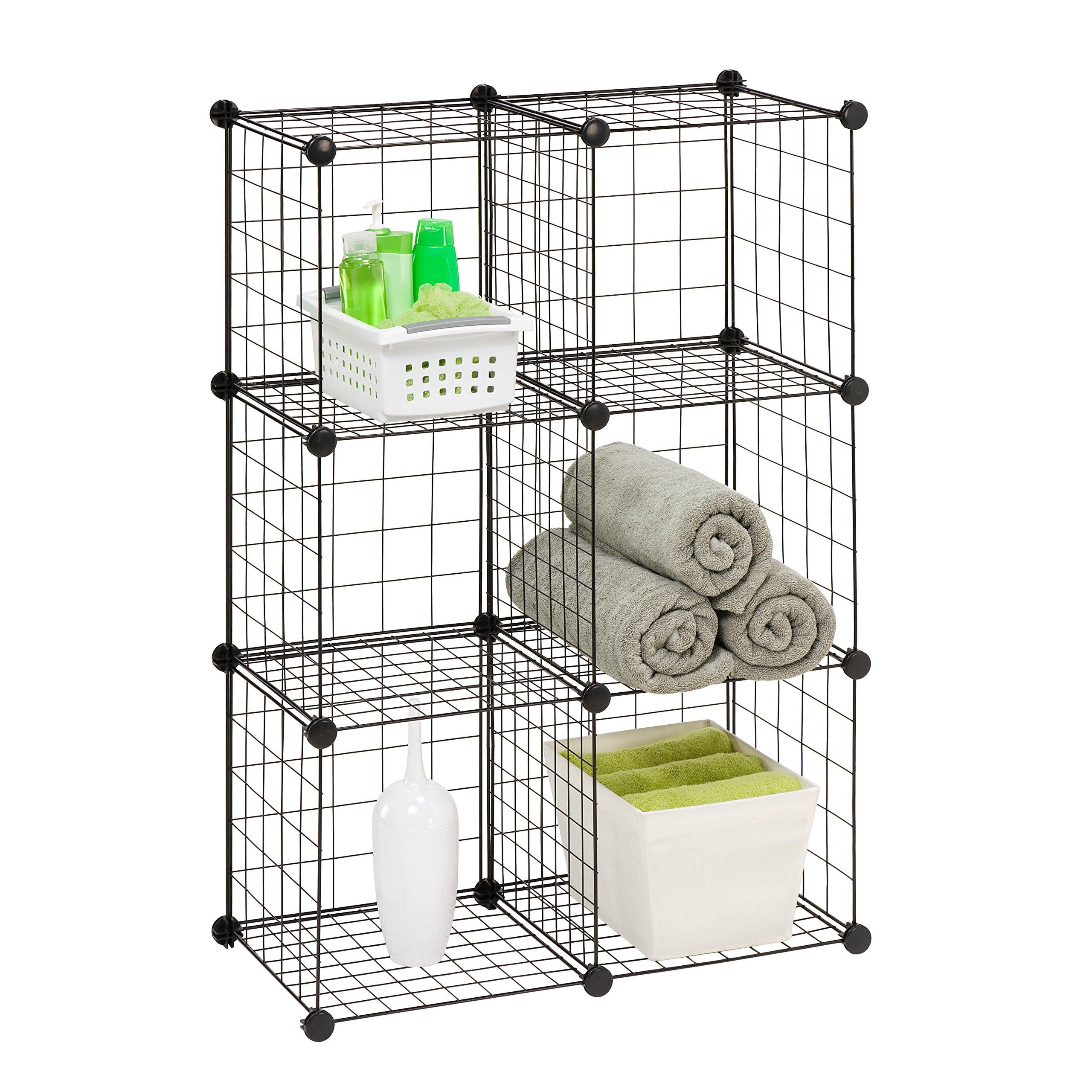 Honey-Can-Do SHF-02113 Modular Mesh Storage Cube, 6-Pack, Black, 43Hx29W