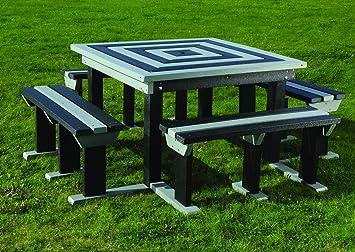 Adultos Octobrunch cuadrado asiento banco de picnic Mesa resistente a la intemperie plástico reciclado negro gris