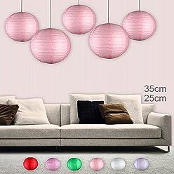 EinsSein 5er Mix Lampions rund 3X Medium (25cm) 2X Large (35cm) rosa Hochzeit Wedding Laterne Papierlampion