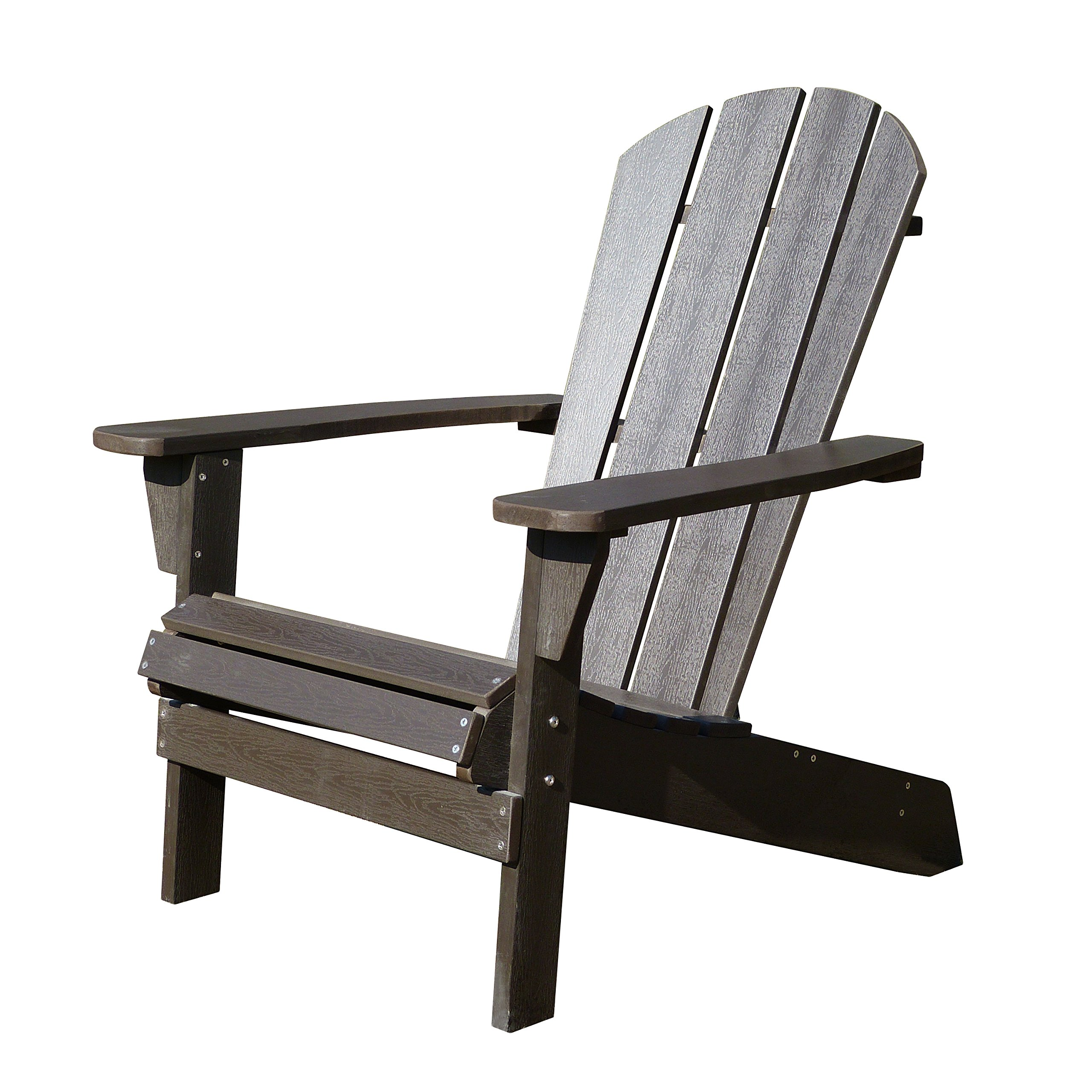 Northbeam Faux Wood Foldable Relaxed Adirondack Chair, Outdoor, Garden, Lawn, Deck Chair, Espresso by northbeam