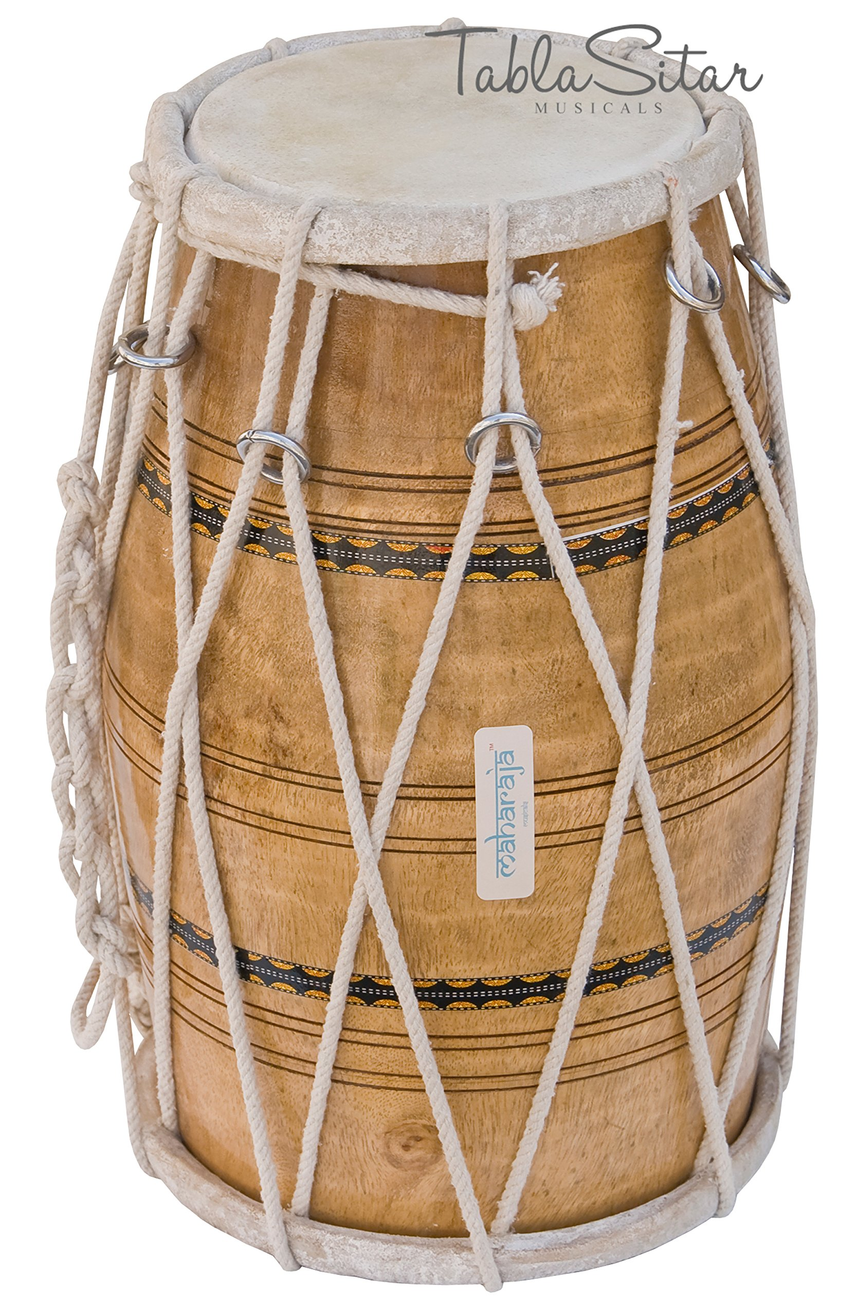 Maharaja Musicals Dholak/Dholki Drum, Natural, Mango Wood, Rope-tuned, Padded Bag (PDI-AJE) by Maharaja Musicals