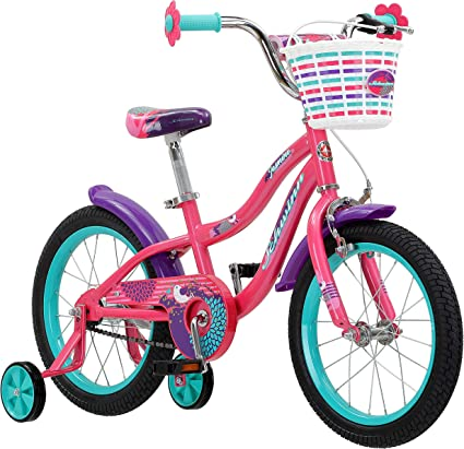 Amazon Com Schwinn Jasmine Girls Bike With Training Wheels 16 Inch Wheels Pink Sports Outdoors