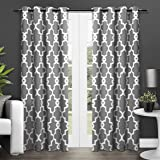 Exclusive Home Ironwork Sateen Woven Blackout Window Curtain Panel Pair with Grommet Top 52x108 Black Pearl 2 Piece
