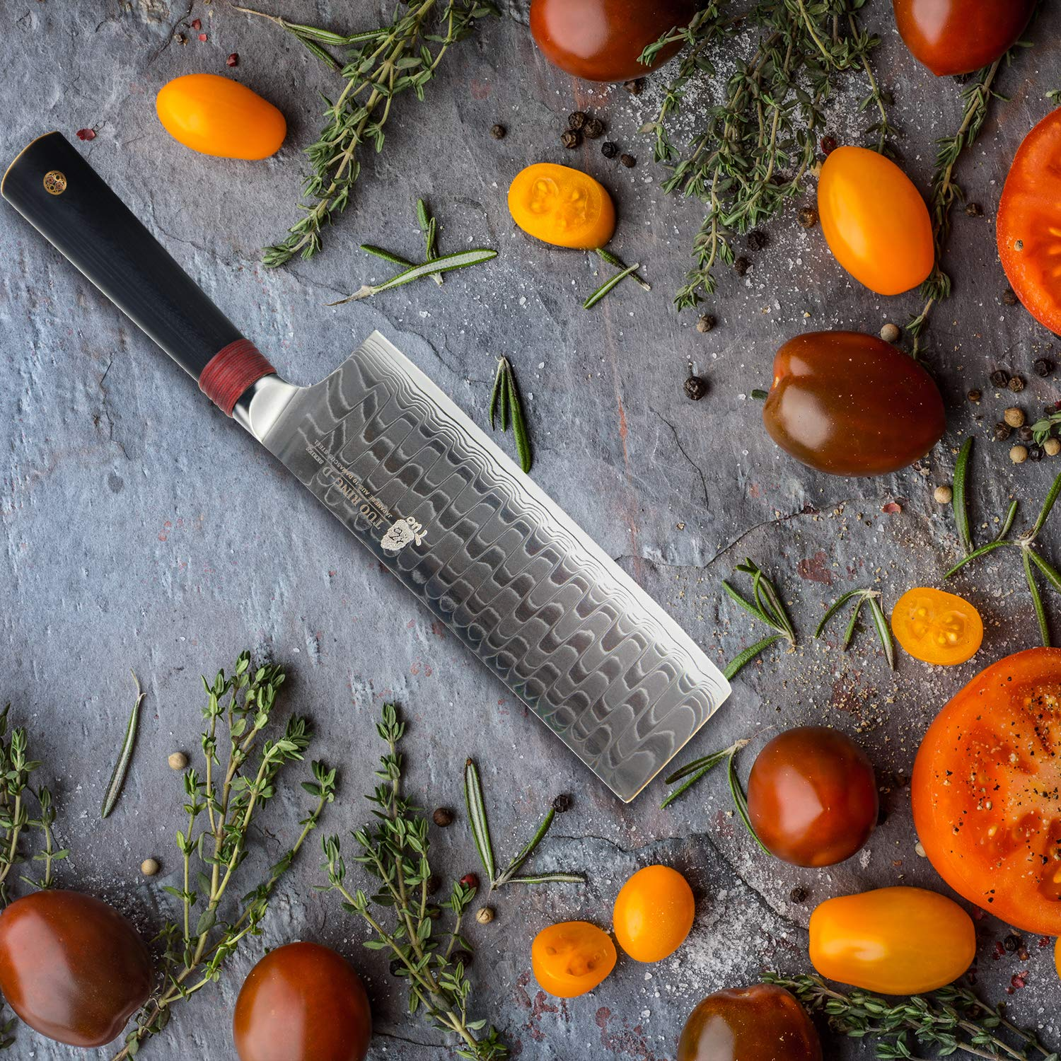 TUO Cutlery Nakiri Knife 6.5'' - Damascus Vegetable Cleaver Kitchen Knives - Japanese AUS-10 High Carbon Stainless Steel Cutting Core Blade - Damascus Pattern - G10 Handle - Gift Box - Ring-D Series by TUO (Image #6)