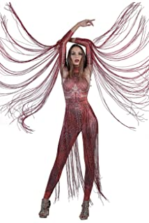 1c782f5db4 Charismatico Red 3D Print Crystallised Bodycon Drag Queen Romper Catsuit  Jumpsuit with Arm Tassels Fringe one