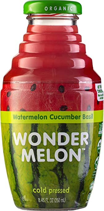 Wonder Melon Organic Watermelon Juice with Cucumber & Basil, 8.45oz (6 Pack) 100% Juice, Cold Pressed