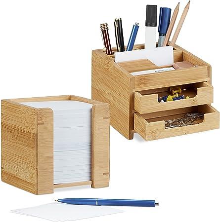 Schreibtisch-Organizer mit Stiftehalter und Zettelbox 2 tlg Schreibtisch Set
