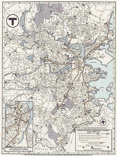 Antique Boston Map.Amazon Com Historic Map Greater Boston Transit Maps Boston Mbta