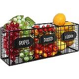 Black Metal Wall Mounted Mail Sorter / Kitchen Storage Basket / Pantry Organizer w/ Chalkboard Labels