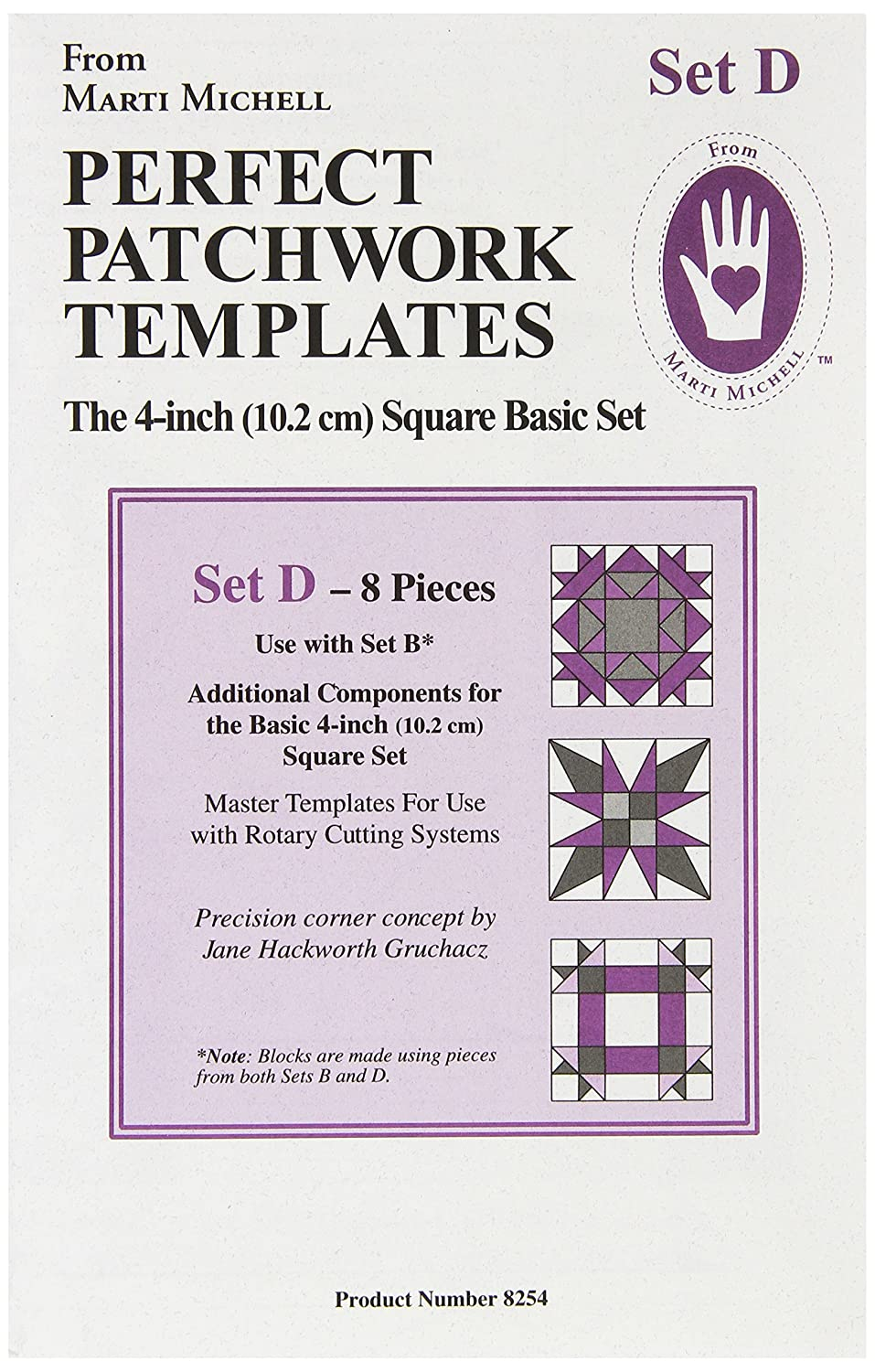 Marti Michell Perfect Patchwork Template Bonus Complement Set D, Pack of 8 8254M