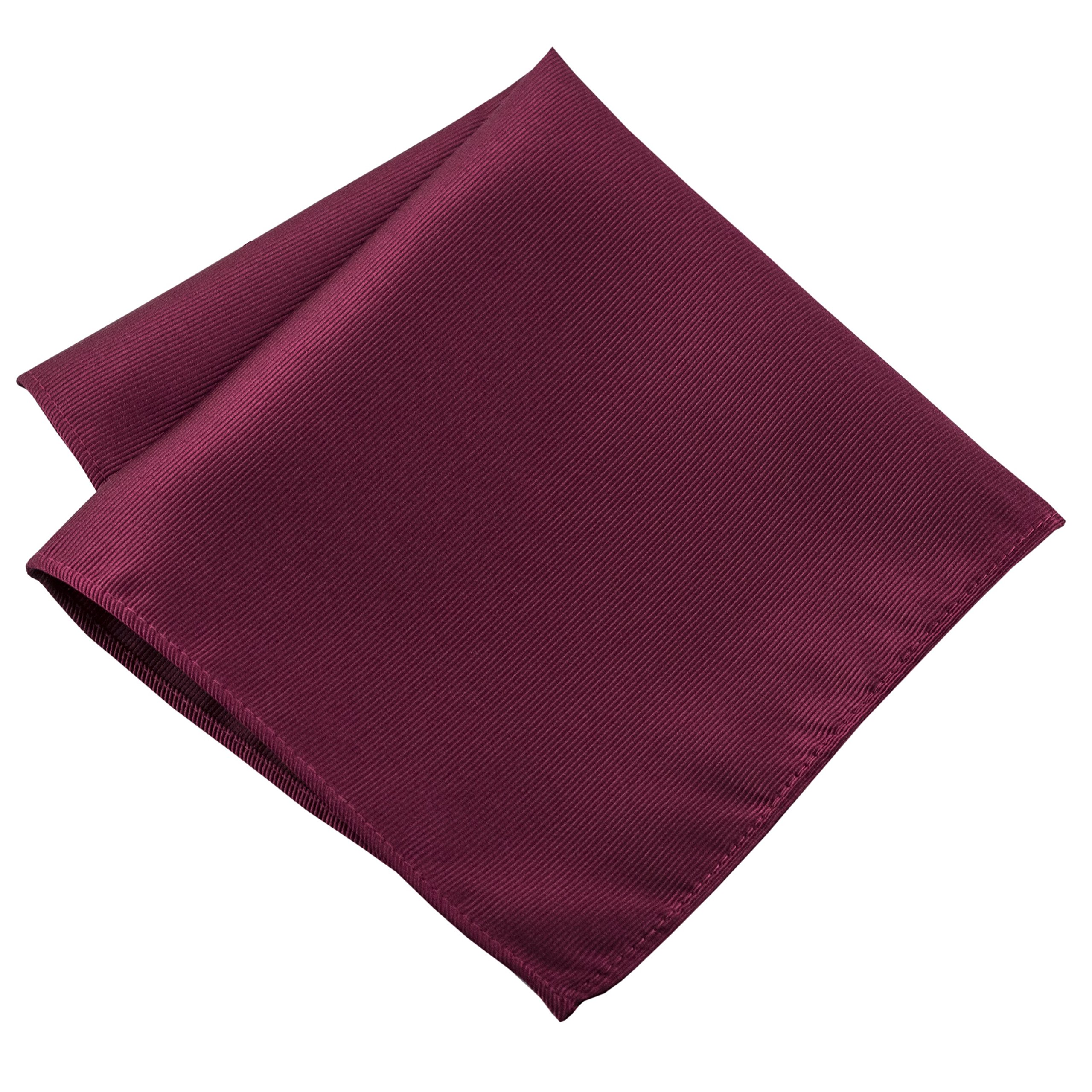 100% Silk Woven Burgundy Pocket Square Handkerchief by John William