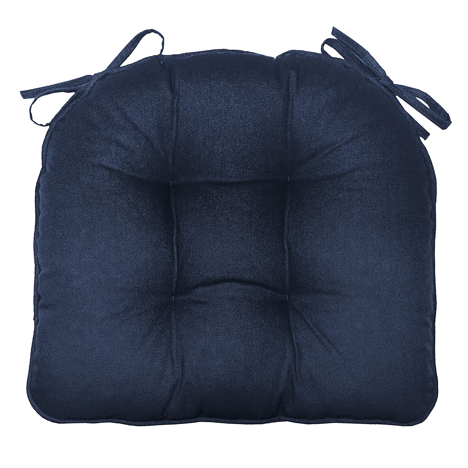 Barnett Products Welted Dining Chair Pad with Ties - Solid Color Cotton Duck - Extra Thick - Reversible, Latex Fill, Tufted Cushion (Navy Blue)