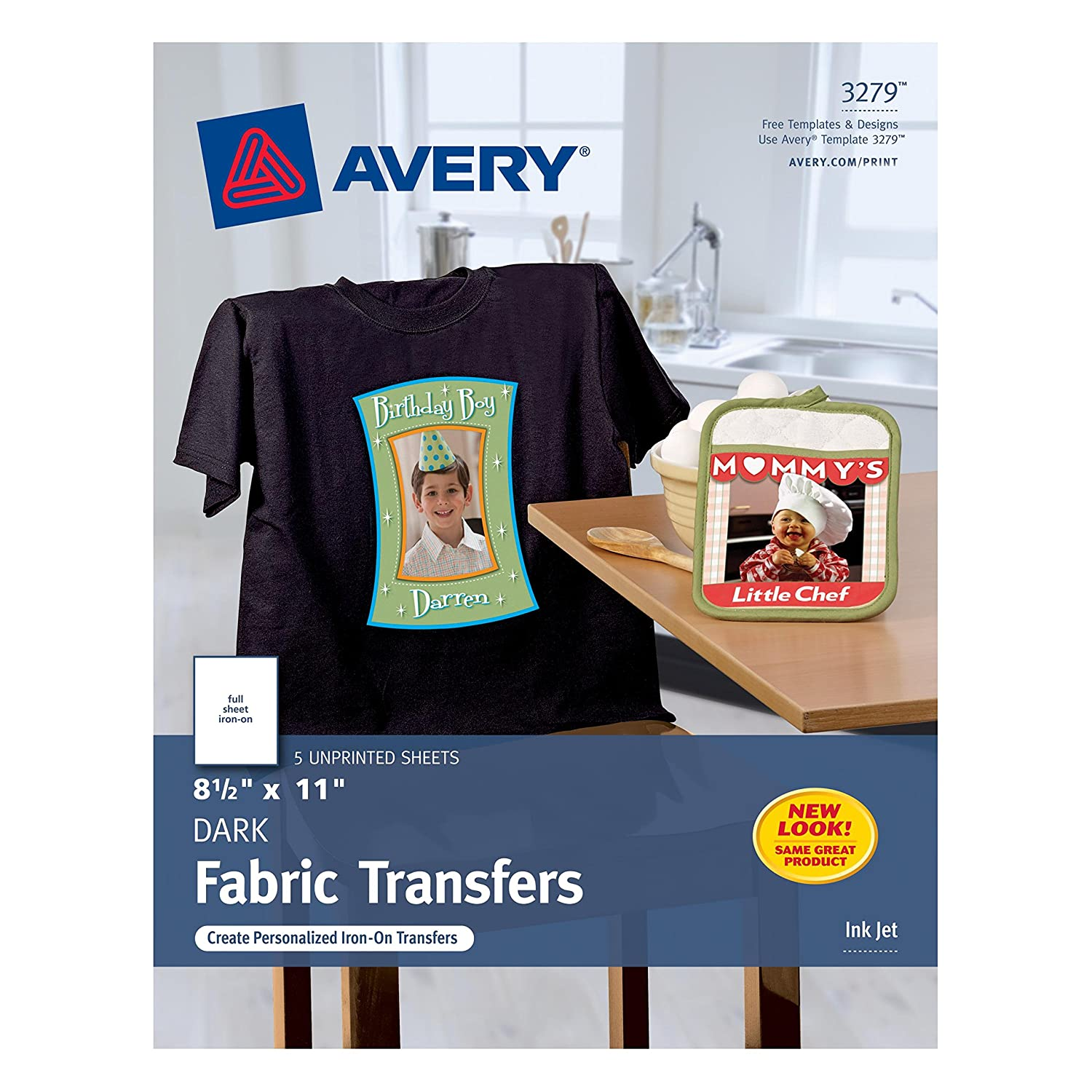 Amazon.com: Avery InkJet Iron On Dark T Shirt Transfers, White, Five Sheets  Per Pack (03279): Office Products