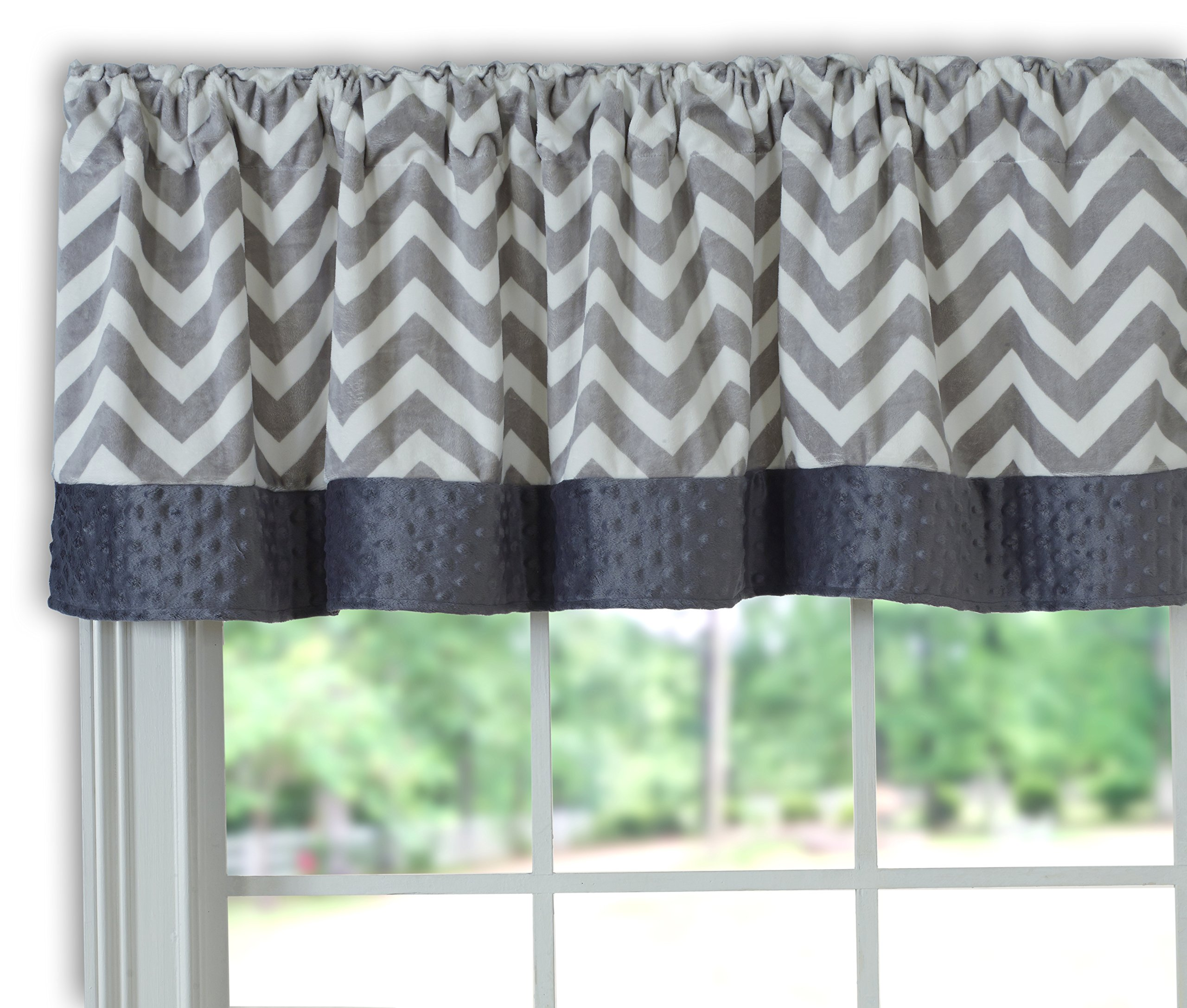 Baby Doll Bedding Minky Chevron Window Valance, Grey by BabyDoll Bedding