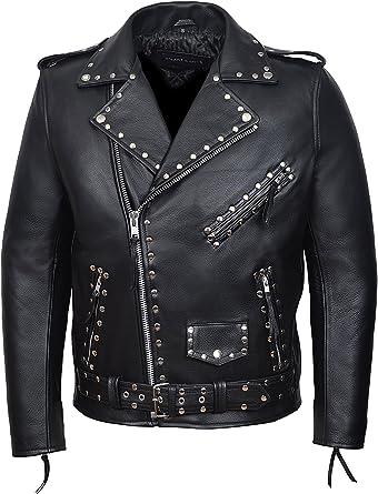 Men/'s BRANDO Blue Classic Real Biker style Cowhide smart fitting Leather Jacket