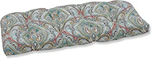 Pillow Perfect Outdoor | Indoor Pretty Witty Reef Wicker Loveseat Cushion, Blue, 44 X 19 X 5