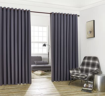 Nicole 2 Wall To Wall Blackout Grommet Curtains Panels With Tiebacks Total Size 216 Inch Wide