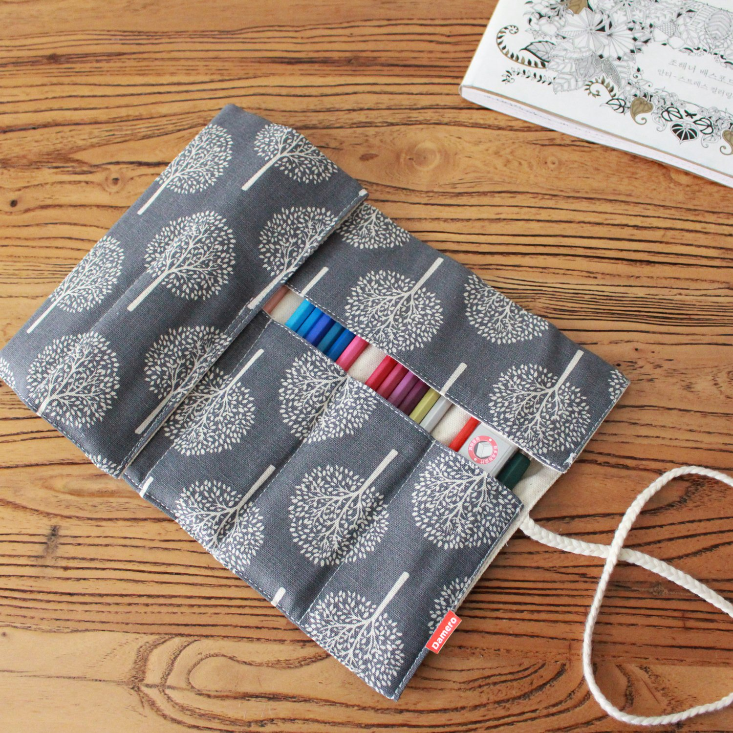 Gracelife Dragon Pattern Colored Pencil Wrap Chinese Style Canvas Pencil Roll up Case with Zipper Pouch Portable Coloring Pencil Holder Organizer