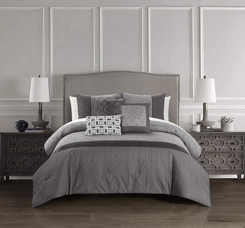 Chic Home Imani 6 Piece Comforter Set Jacquard Geometric Diamond Pattern Color Block Design Bedding - Decorative Pillows Shams Included, King, Grey