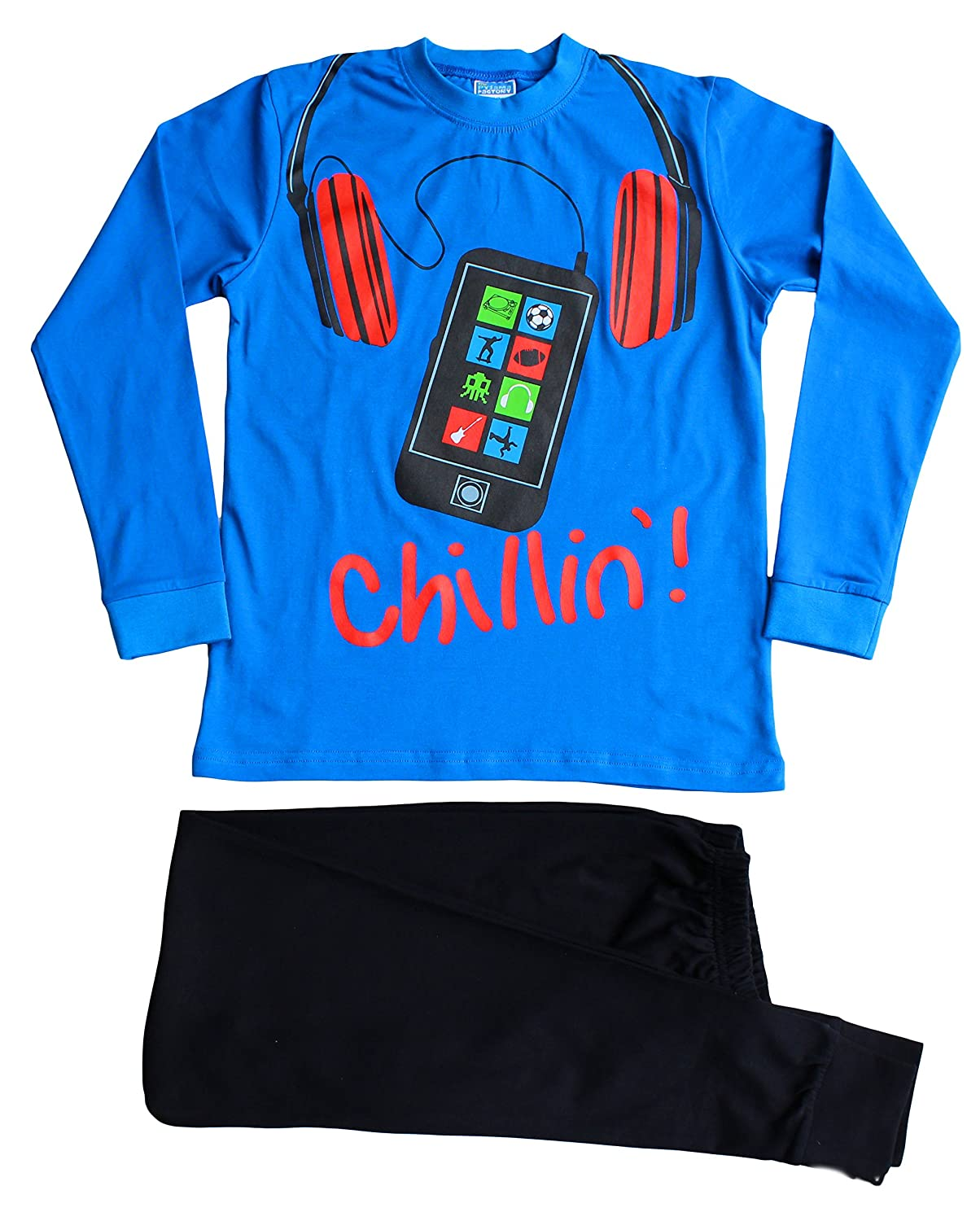 Cool Boys Chillin! Mobile Phone Pyjamas 11 to 16 Years Blue