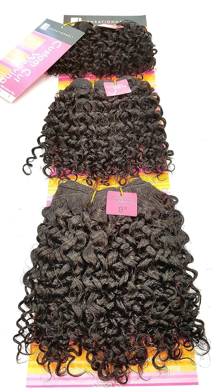 100% Human Hair Jerry Curl, Super Weave. Short 3 Piece Set. Colour 1B, Natural Black. 6'', 7'' & 8inches length Natural Black. 6'' 100%HNHAIR