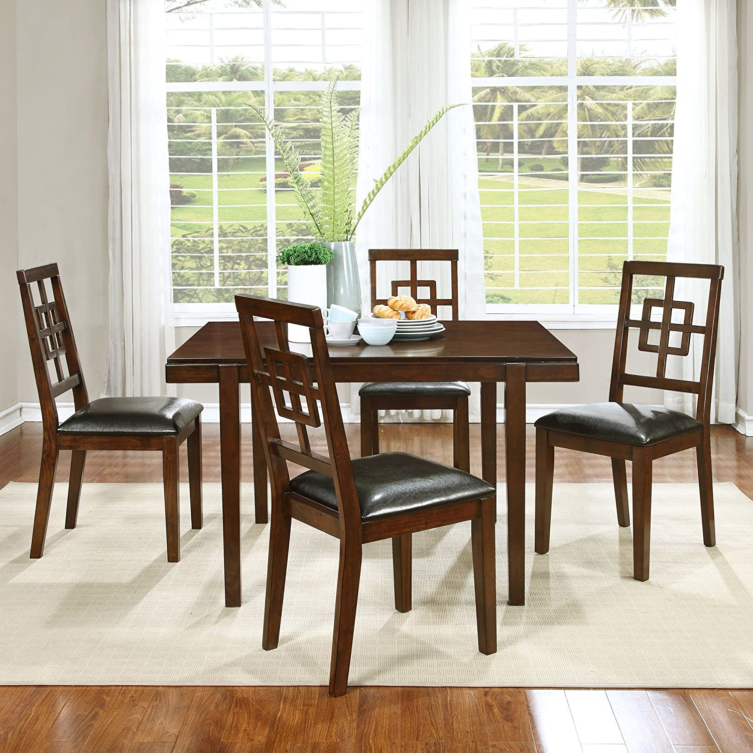 Best Master Furniture Dahlia 5 Pcs Transitional Dining Set, Cherry